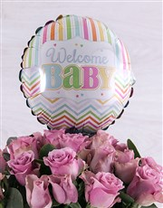 Welcome Baby Purple Roses