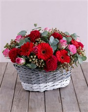 Red Touch of Pink Basket