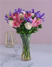 Magnificent arrangement in a tall vase filled with