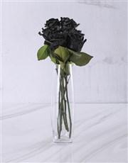 Black Roses in Glass Vase