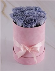 Large Pink Suede Box with Lilac Preserved Roses