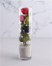 Tall Cylinder With Three Stacked Preserved Roses