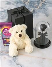 Black Preserved Rose In Glass Dome