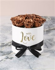 Preserved Golden Roses In White Box
