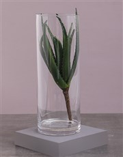 Green Silk Aloe in a Clear Vase