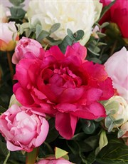 Mixed Pink Silk Peonies in a Charcoal Grey