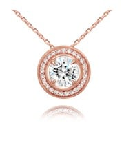 Sterling Silver 925 Rose Halo Round Cubic Zirconia