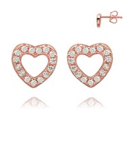Sterling Silver 925 Rose, heart pave set cubic zir
