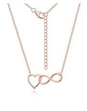 Silver Rose Open Heart Infinity Necklace