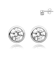 Silver 925 Tube Cubic Stud Earrings
