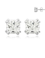 Silver Square 4 Claw Cubic Zirconia Earring