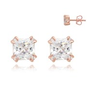 Silver Rose Square 4 Claw Cubic Zirconia Earring