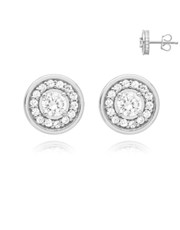 Silver Round Halo Cubic Zirconia Earring