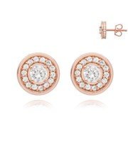 Silver Rose Round Halo Cubic Zirconia Earring