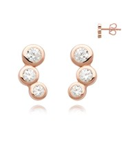 Silver Rose 3 Cubic Curved Stud Earring