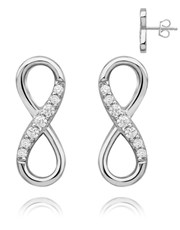 Silver Half Pave Cubic Infinity Studs