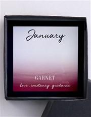 Sterling Silver 925, Red Garnet Cubic Zirconia Jan