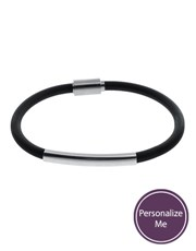 Sterling Silver 925 and Rubber ID Bracelet.  35,0x