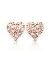 Sterling Silver 925 WHY Filigree Heart-Motif Studs