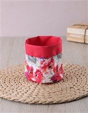 Red fabric pot cover