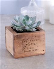 Personalised Let Love Grown Succulent