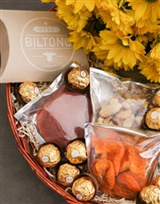 Cheerful Chrysanthemum and Gourmet Basket