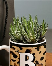 Personalised Animal Print Initial Plant Mug