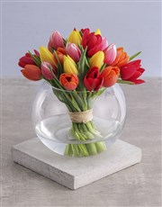 Mixed Tulips in Round Vase