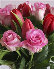 Red Tulips and Pink Roses in Vase