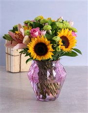 Mixed Sunflowers in Small Geo Vase