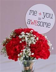 Crimson Carnations in a Glass Vase