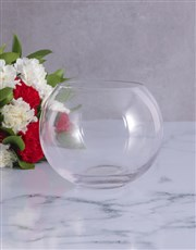 Striking Red and White Carnations in a Round Vase