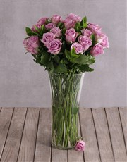 Elegant Flair of Lilac Roses in a Vase