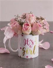 Pink Rose Arrangement in a Mug