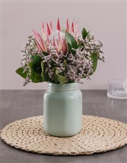 King Protea in Mint Jar