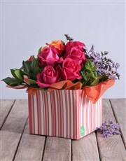 Cherry Brandy and Cerise Roses in a Pink Box