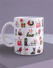 Christmas Doggy and Floral Mug