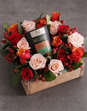 Christmas Mixed Rose Candle Crate