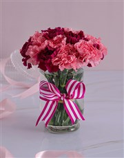 Pink and Purple Carnations in a Vase
