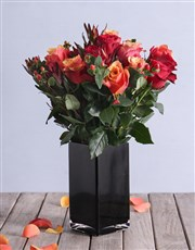 Cherry Brandy and Red Roses with Safari in a Vase