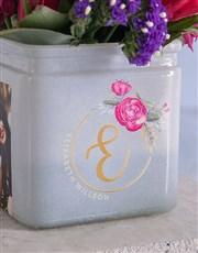 Personalised Bright Blooms in Initial Photo Vase