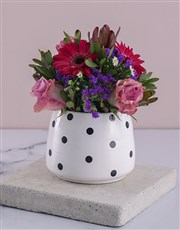 Lilac Florals in a Polka Pot