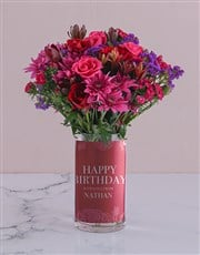 Personalised Cerise and Red Rose Arrangement