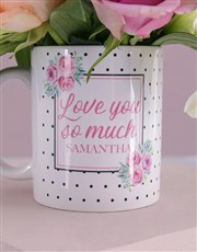 Personalised Love You Lilies and Roses Mug