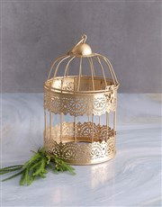 Christmas Florals in a Gold Cage
