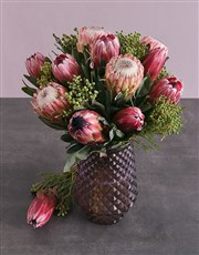 Mixed Proteas in Tall Purple Vase