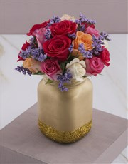 Mixed Roses in a Gold Consol Jar