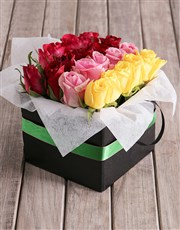 Rows Of Mixed Roses In Green Ribbon Box