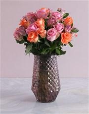 Mixed Roses In Metallic Purple Vase