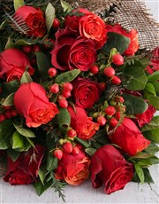 Red Rose and Hypericum Bouquet